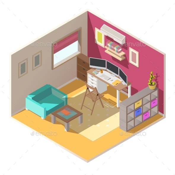 Small Home Office Isometric Vector Interior - Buildings Objects
