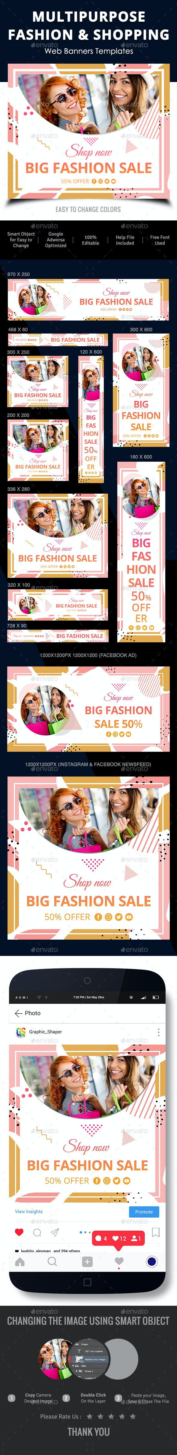 Multipurpose Fashion & Shopping Web Banners - Banners & Ads Web Elements