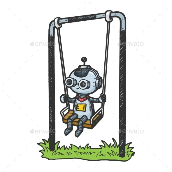 Robot Child Play on Swing Color Sketch Engraving - Technology Conceptual