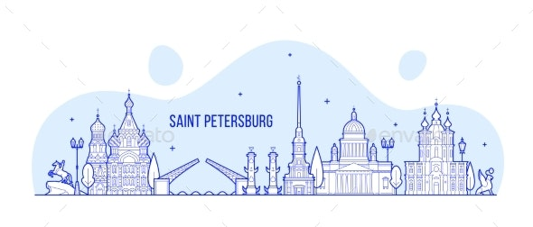Saint Petersburg Skyline Russia City Vector Linear - Buildings Objects