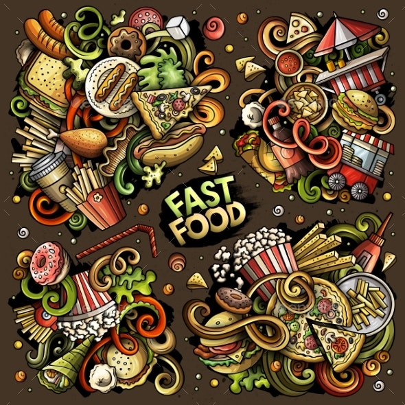 Colorful Vector Doodles Cartoon Set of Fastfood - Food Objects