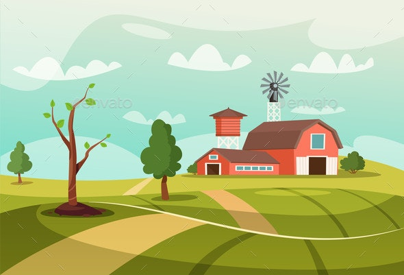 Old Farm Flat Vector Illustration - Buildings Objects