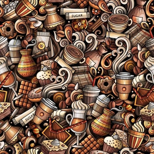 Cartoon Cute Doodles Hand Drawn Coffee Shop - Food Objects