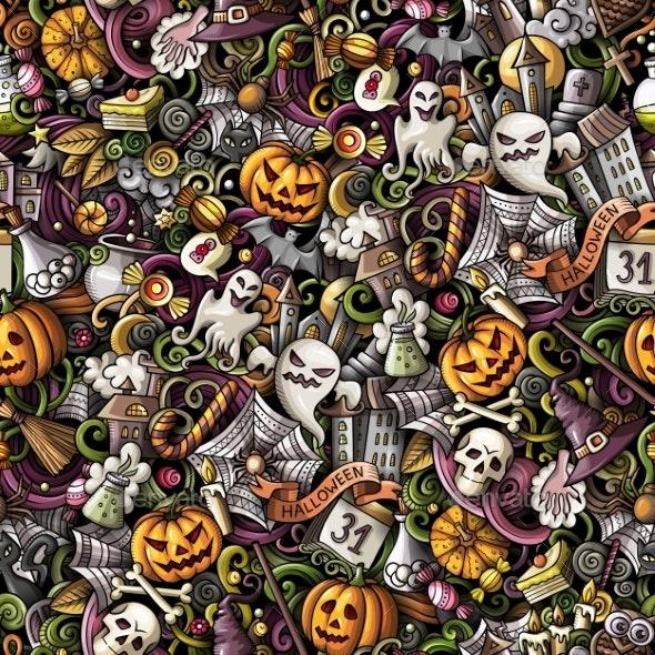 Cartoon Doodles Hand Drawn Halloween Seamless - Halloween Seasons/Holidays