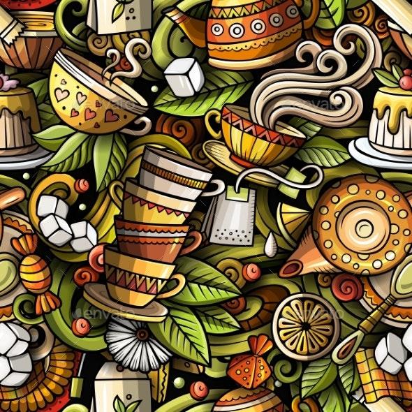 Cartoon Doodles Hand Drawn Tea House Seamless - Food Objects
