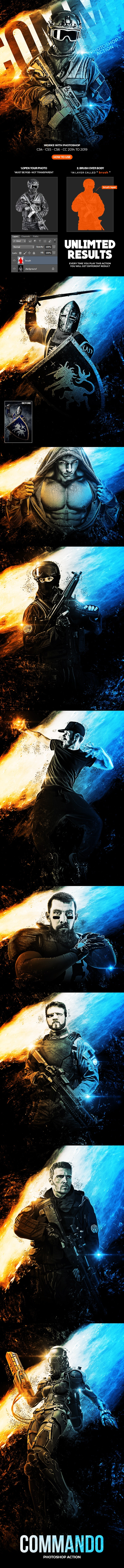 Commando Photoshop Action - Photo Effects Actions