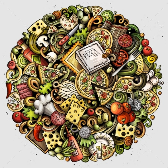 Cartoon Vector Doodles Pizza Illustration - Food Objects