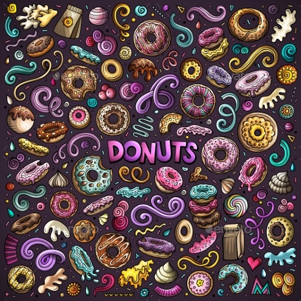 Vector Cartoon Set of Donuts Objects and Symbols - Food Objects