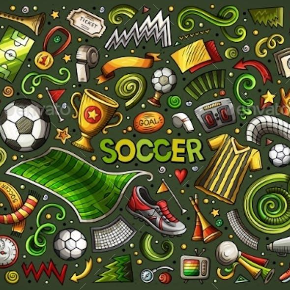 Vector Doodles Cartoon Set of Football Objects