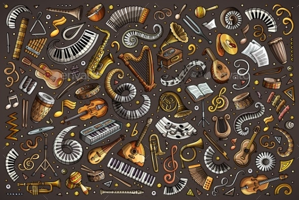 Colorful Vector Doodles Cartoon Set of Classical - Media Technology
