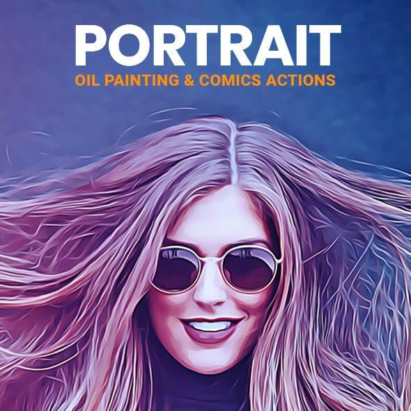 Portrait Oil Painting & Comics Action