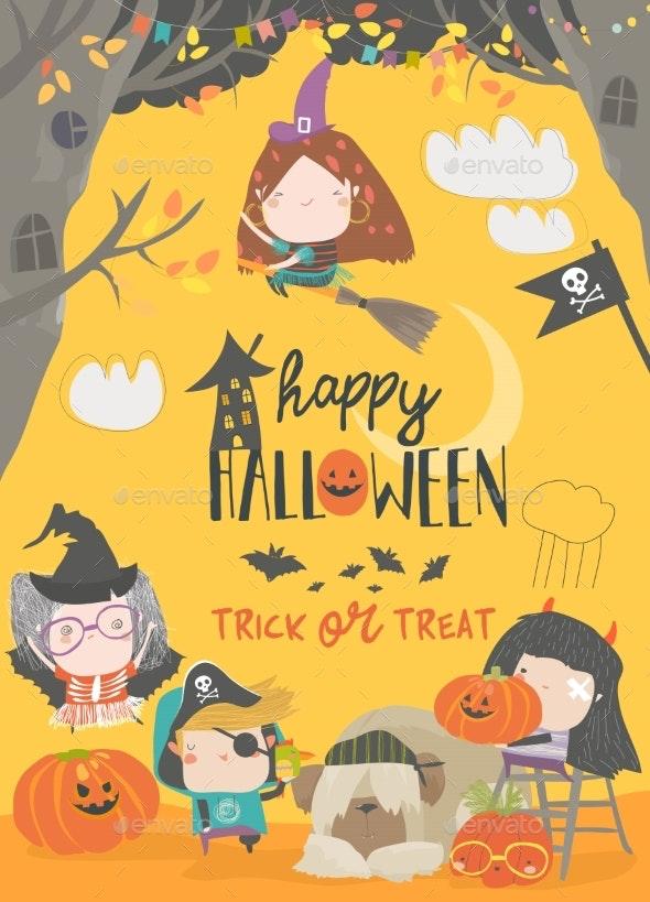 Children Wearing in Halloween Costumes - Halloween Seasons/Holidays