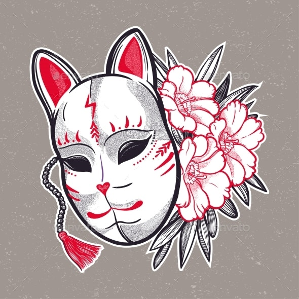 Japanese Mask Fox with Flowers Isolated Vector - Miscellaneous Vectors