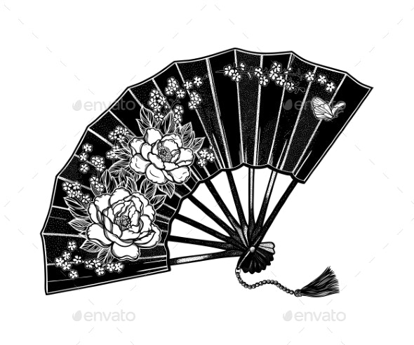 Oriental Fan Decorated with Flowers Peonies - Backgrounds Decorative