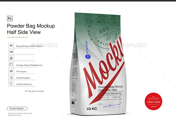 Powder Bag Mockup Half Side View by _Reformer_ | GraphicRiver