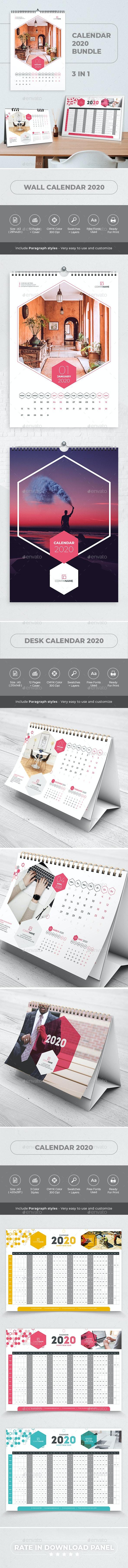 Creative Calendar 2020. Bundle 3 in 1 - Calendars Stationery
