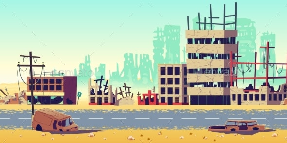City in War Zone Cartoon Vector Background - Buildings Objects