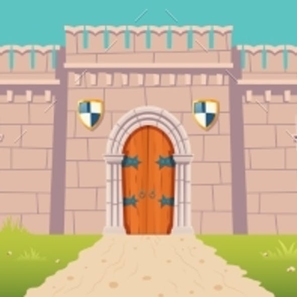Medieval Castle Town Fortress Wall Cartoon Vector