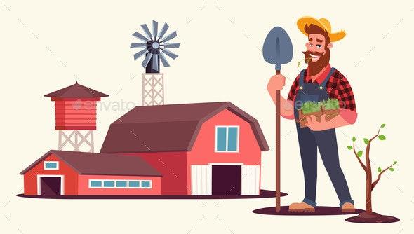 Spring Seasonal Work on Farm Flat Vector - Industries Business