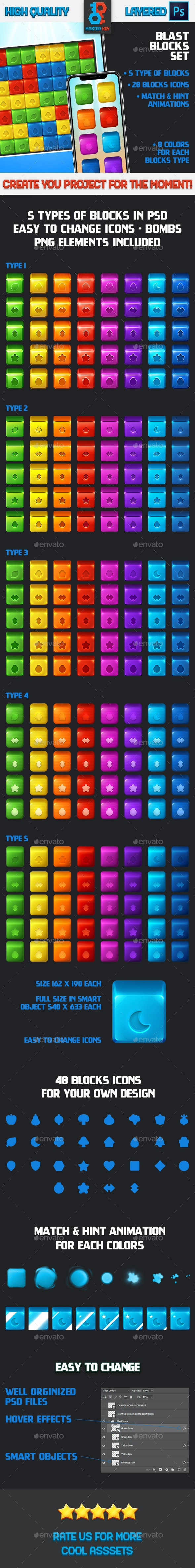 Blast Game Blocks Set - Miscellaneous Game Assets