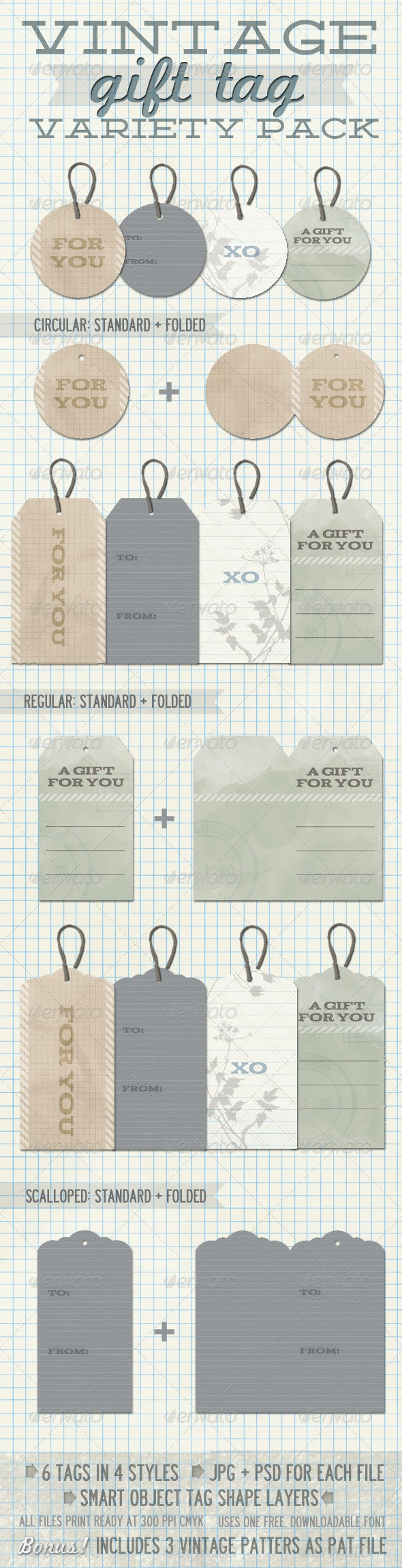 Vintage Gift Tag Variety Pack - Stationery Print Templates