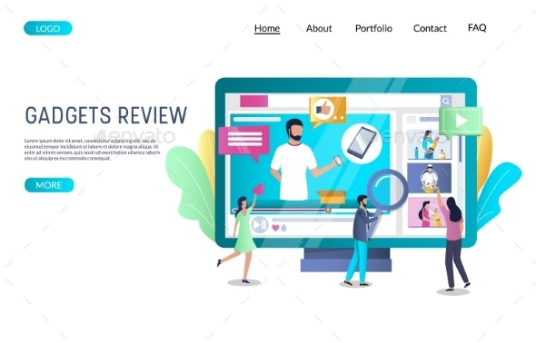 Gadgets Review Vector Website Landing Page Design - Communications Technology