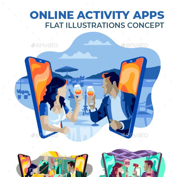 Online Activity Apps Flat Illustration Concept