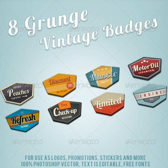 8 Grunge Retro Vintage Badges