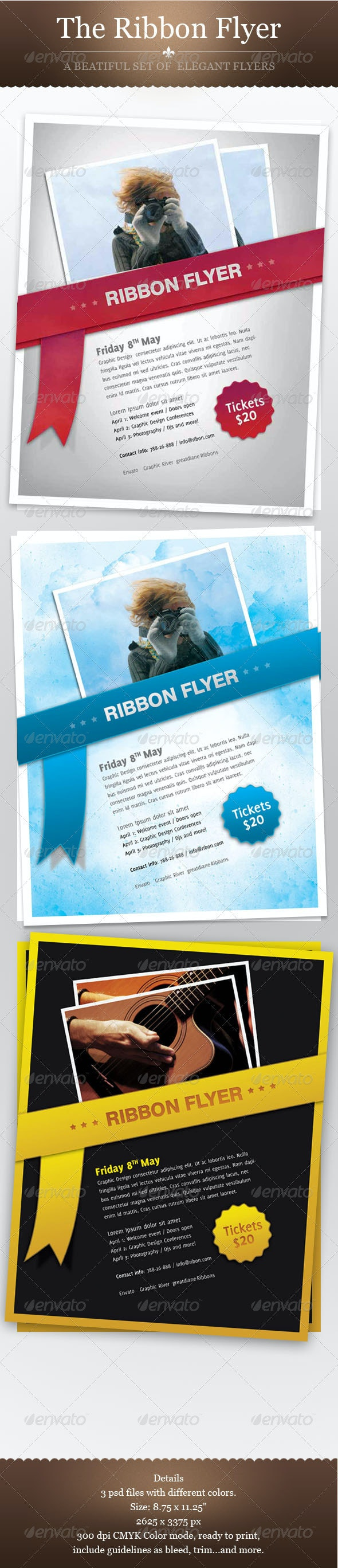 Ribbon Flyer Set - Clubs & Parties Events