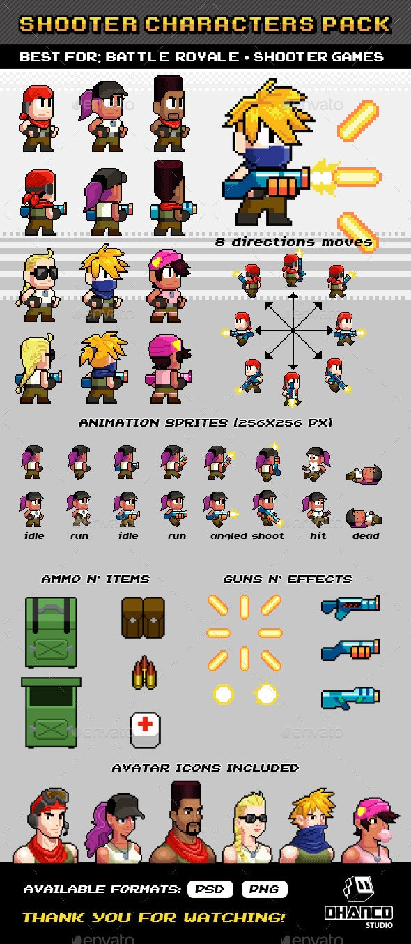 Shooter / Battle Royale - Characters Pack - Sprites Game Assets