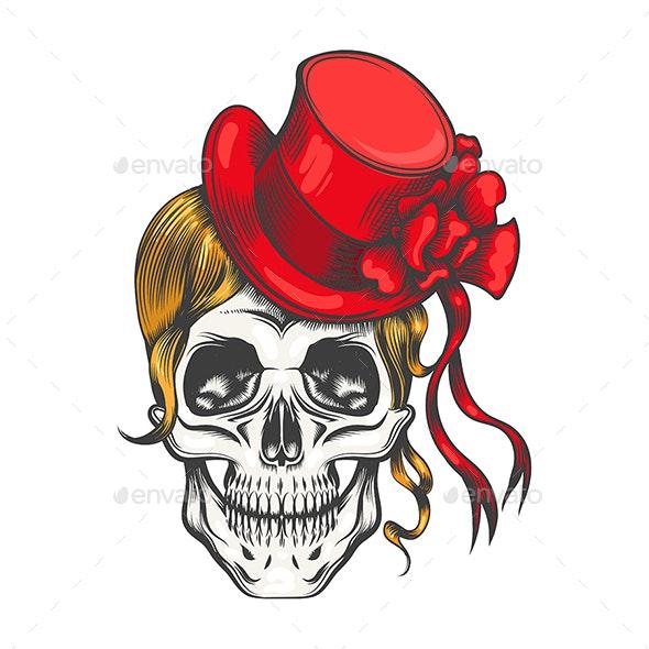 Human Skull in Red Fashion Hat - Tattoos Vectors