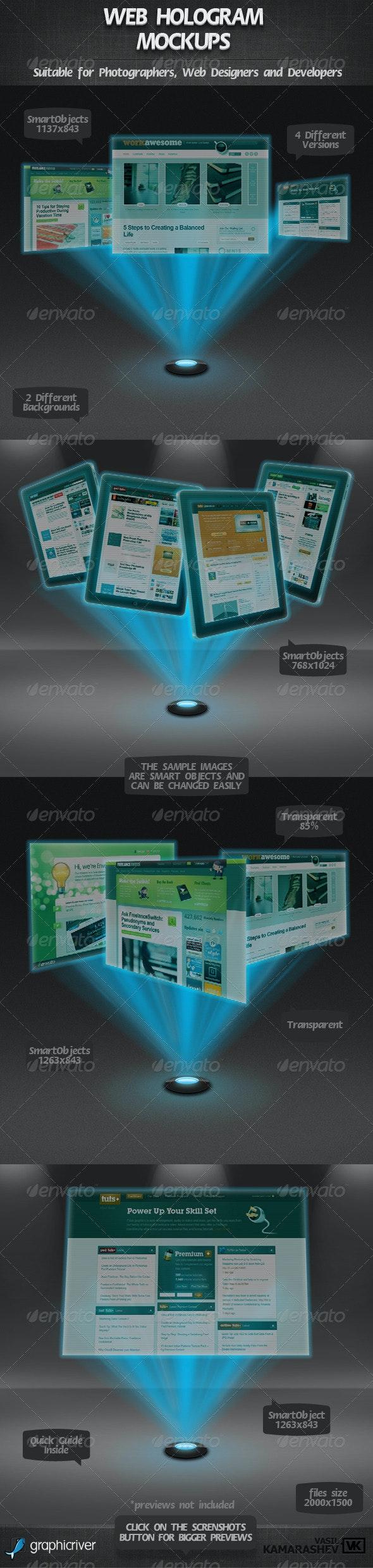 Web Hologram Mockups - Multiple Displays