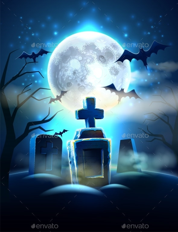 Vector Spooky Cemetery Graves for Halloween Party - Halloween Seasons/Holidays