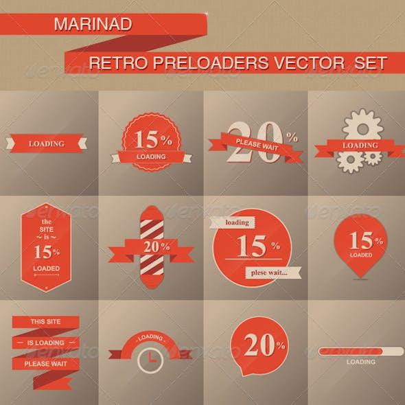 Retro Preloaders Vector Set
