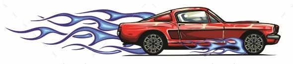 Vector Muscle Car with Flames Crazy Race - Man-made Objects Objects