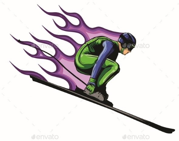 Silhouette of a Skier Jumping. Vector Illustration - Sports/Activity Conceptual