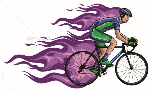 Cyclist with Flame Silhouette Vector Illustration - Sports/Activity Conceptual