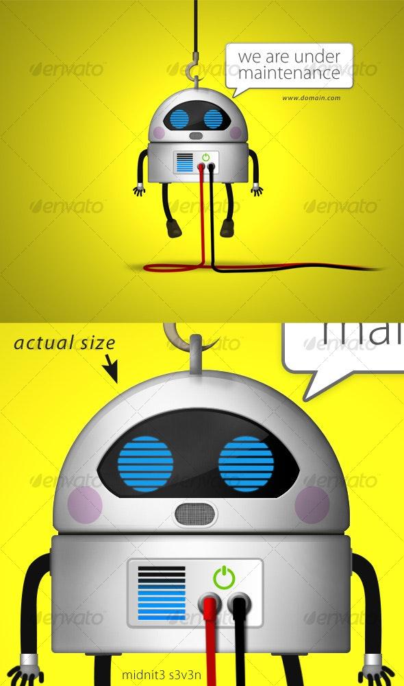 Robot Under Maintenance Screen - Backgrounds Graphics