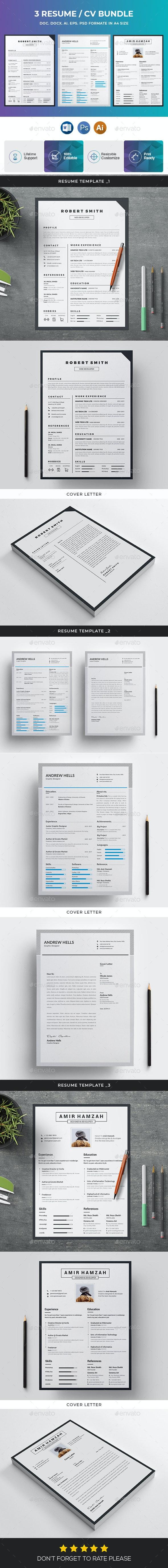 Resume / CV Bundle 3 in 1 - Resumes Stationery
