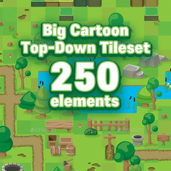 Cartoon Game Top Down Tileset