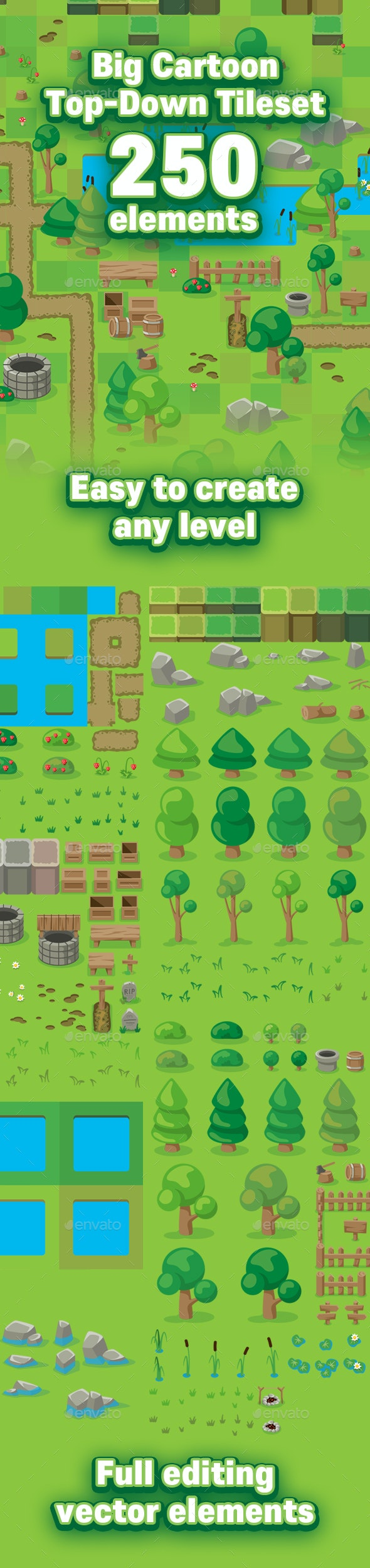 Cartoon Game Top Down Tileset by cobectbhax | GraphicRiver