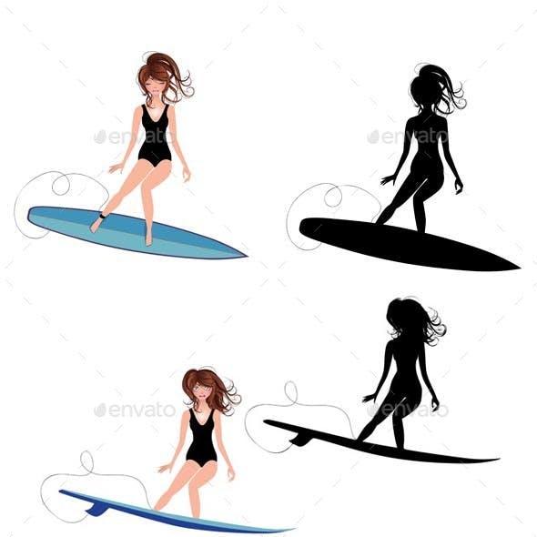 Cartoon Girl Surfer