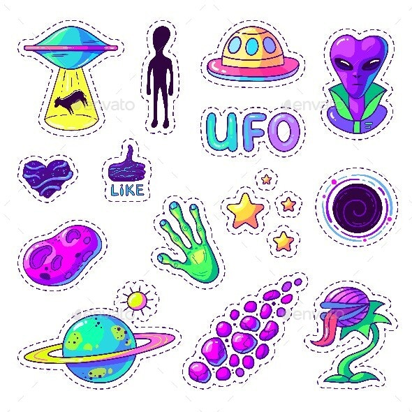 Colorful Stickers Set About Alien World - Miscellaneous Vectors