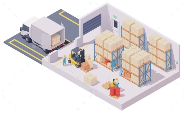Vector Isometric Warehouse Interior - Man-made Objects Objects