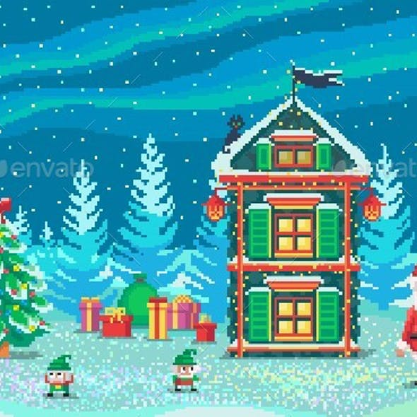 Pixel Art Scene With Santa Claus And Gnomes
