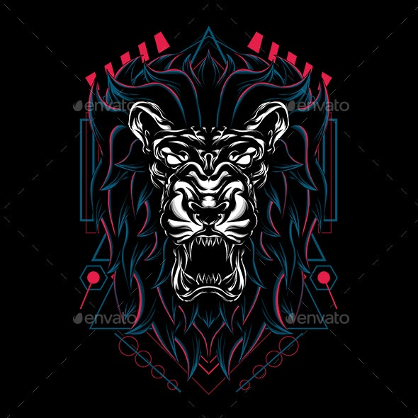 Lion Wild Sacred Geometry - Animals Characters