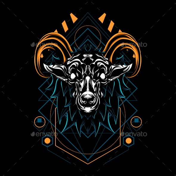 Mistis Goat Horned Sacred Geometry - Animals Characters
