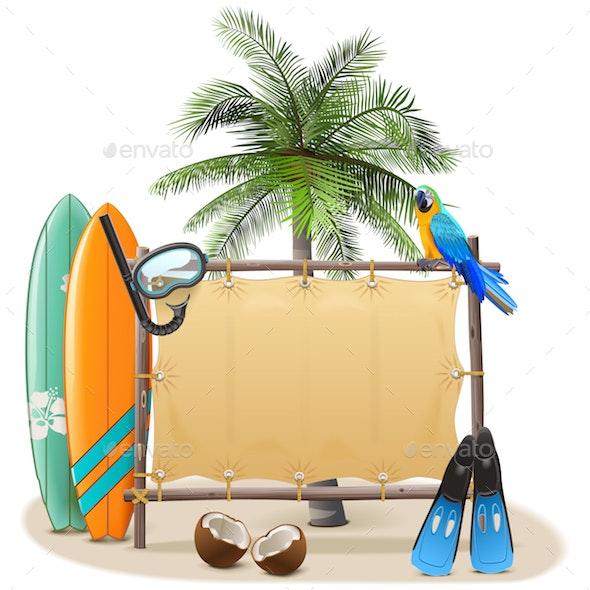Vector Beach Canvas Frame - Travel Conceptual