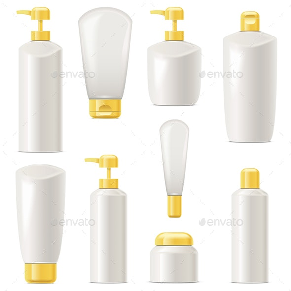 Vector Unlabeled Cosmetic Packaging Set 4 - Retail Commercial / Shopping