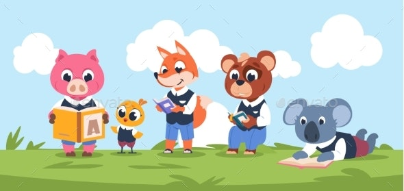 Reading Animal Characters. Cute Cartoon Kids - Miscellaneous Vectors